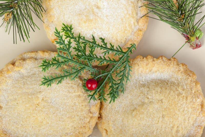 Над съемкой свеже испеченный семените пироги для рождества стоковые фото