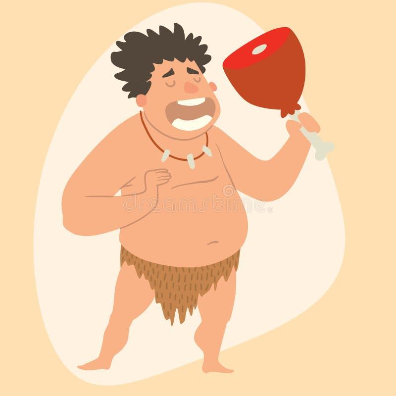 Неандерталца шаржа человека каменного века троглодита иллюстрация вектора развития характера примитивного человеческая иллюстрация вектора