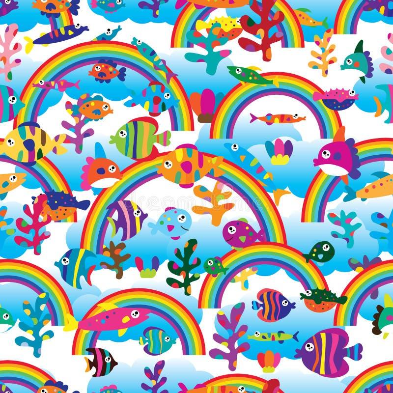 Неба облака радуги рыб картина красочного безшовная бесплатная иллюстрация