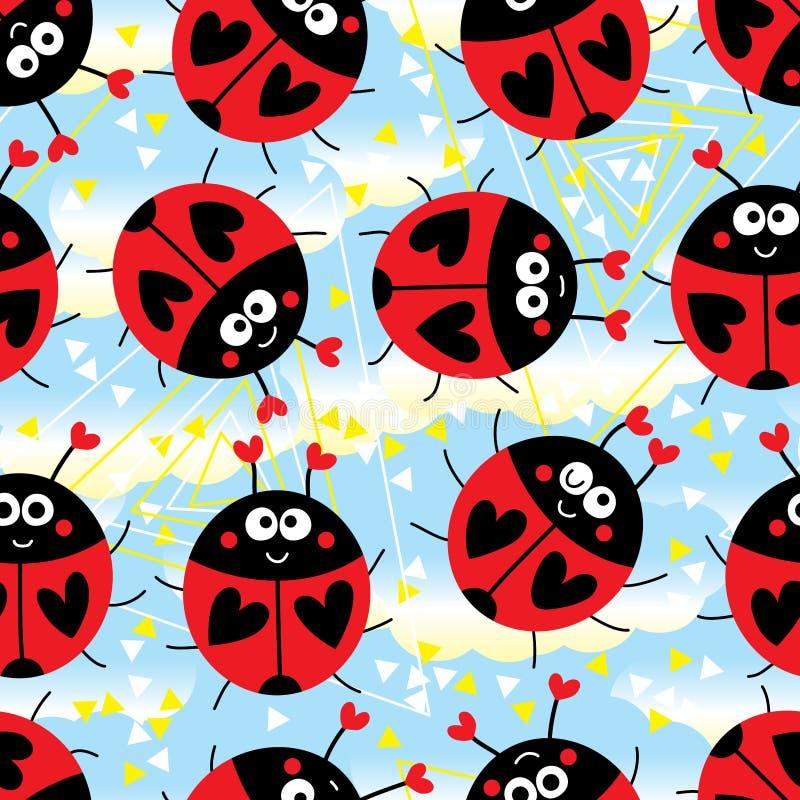 Неба треугольника Ladybug картина головного странного милого безшовная иллюстрация вектора