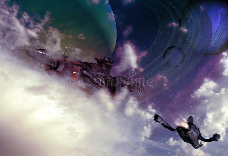 Небеса научной фантастики иллюстрация вектора