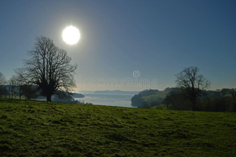 Небеса Солнця зимы голубые стоковое фото rf