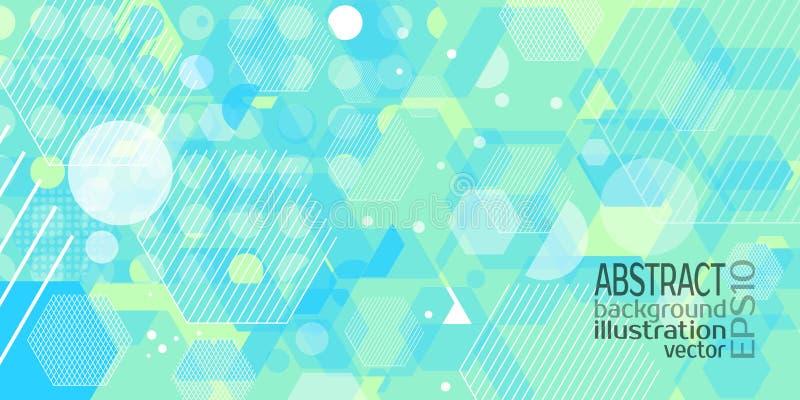 Небесно-голубое предпосылки абстрактное геометрическое голубое сделанное косоугольников объезжает нашивки шестиугольника и линии  иллюстрация вектора