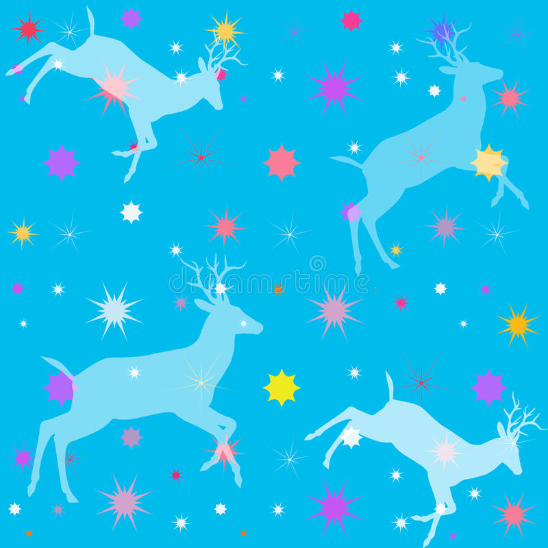 Небесно-голубая предпосылка цвета с формами оленей и звезд иллюстрация штока