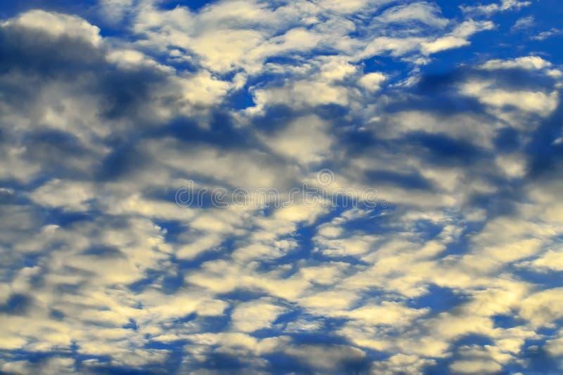 Небесный ландшафт с белыми облаками кумулюса стоковые изображения rf