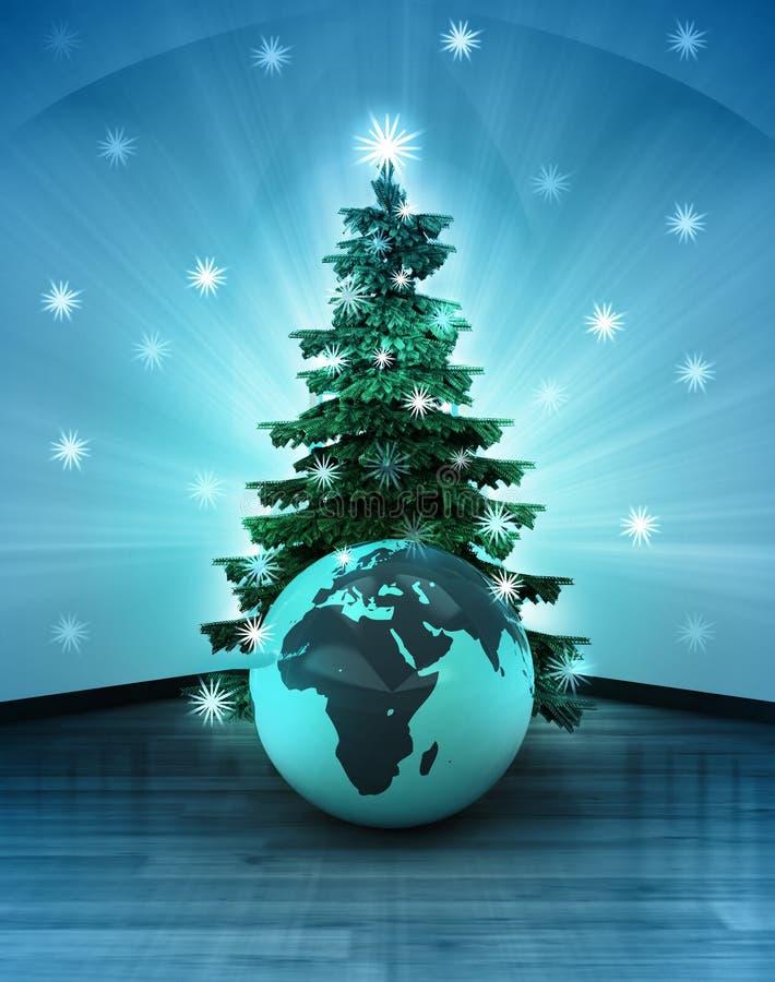 Небесный космос с глобусом мира Африки под блестящим деревом xmas иллюстрация вектора