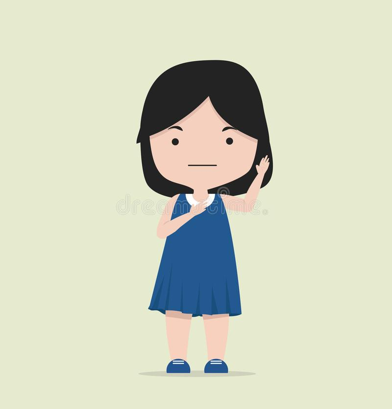 Небольшая девушка делая обещание иллюстрация штока