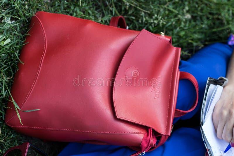 Небольшая красная сумка для идти для прогулки стоковое фото rf