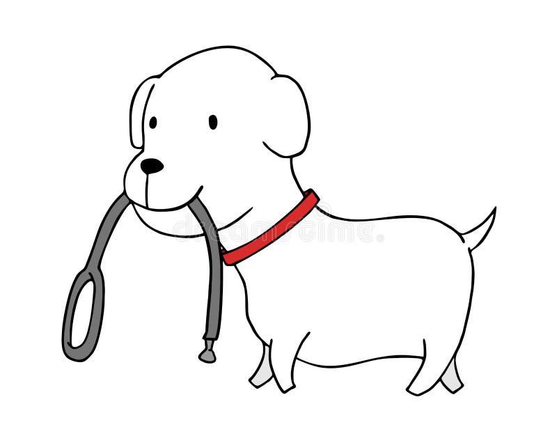 Небольшая собака идя с поясом в его outh иллюстрация вектора