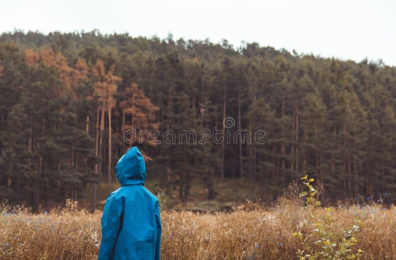 Небольшая стойка мальчика в голубом плаще с полем и концепцией леса на открытом воздухе, чехословакским ландшафтом стоковые фото