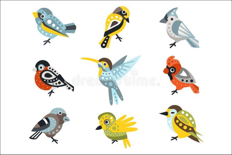 Небольшие виды птиц, воробьи и колибри установили декоративных художественных иллюстраций вектора диких животных дизайна иллюстрация штока