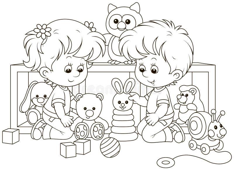Небольшие дети играя в питомнике иллюстрация вектора