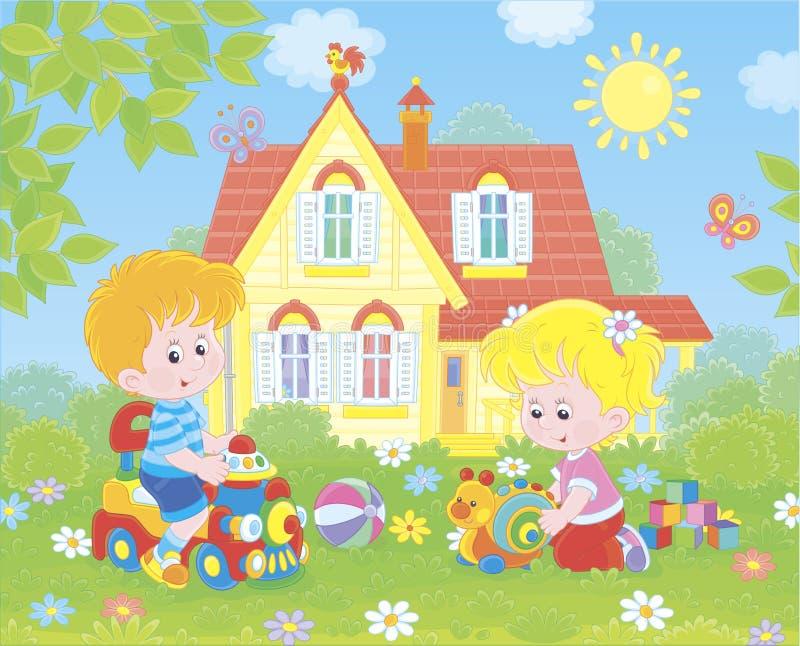 Небольшие дети играя на лужайке перед домом бесплатная иллюстрация