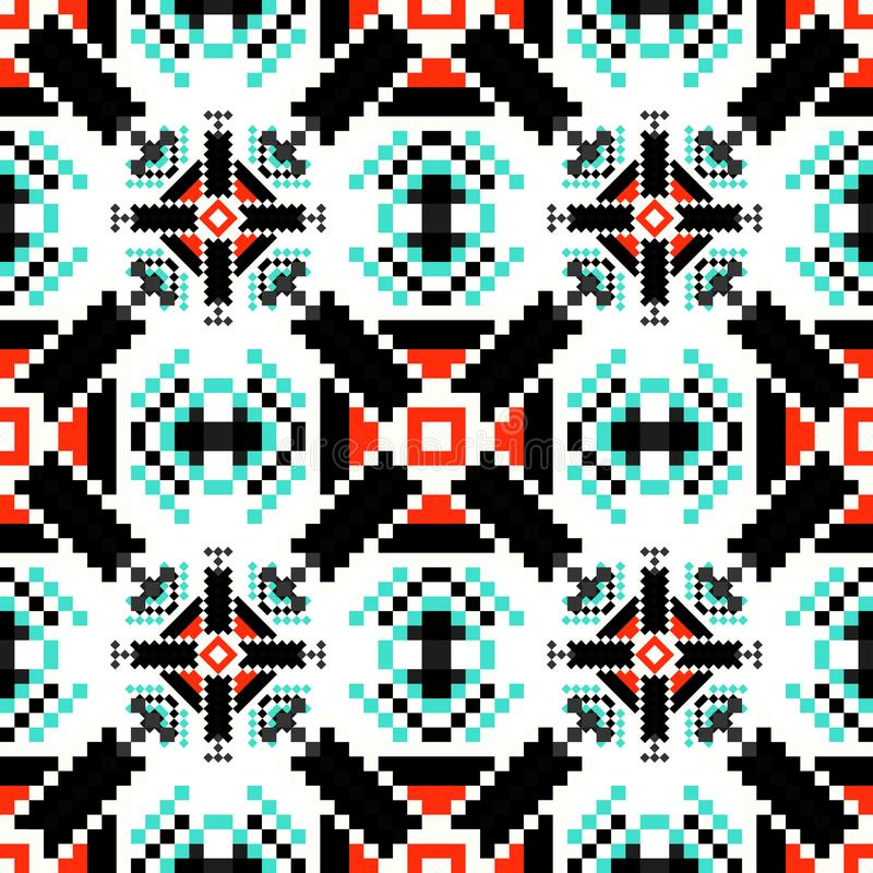 Небольшие пикселы покрасили иллюстрацию картины геометрической предпосылки безшовную иллюстрация штока