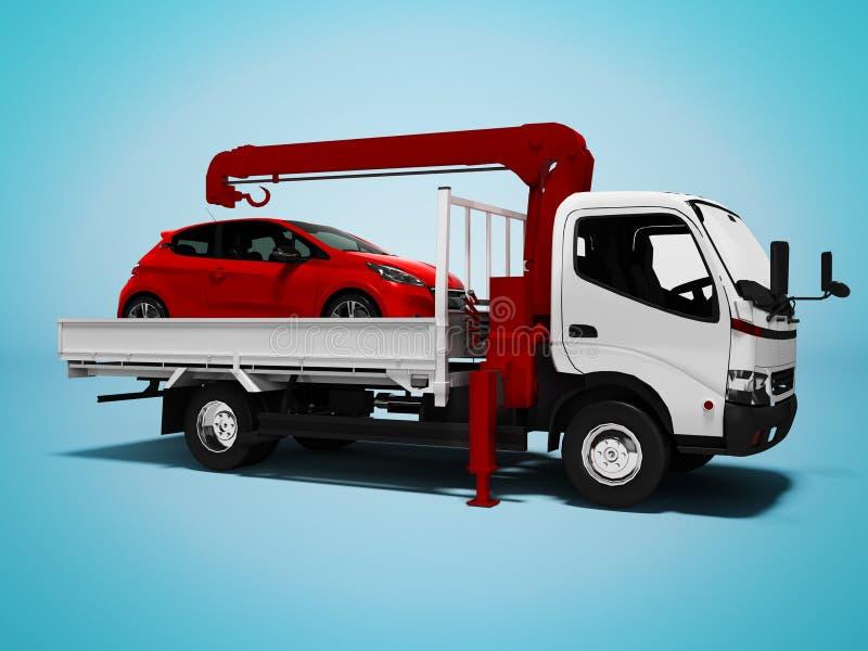Небольшой белый эвакуатор с красным пассажирским автомобилем 3d представить на голубой предпосылке с тенью бесплатная иллюстрация