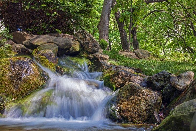 Небольшой водопад с камнями, долгая выдержка стоковая фотография rf