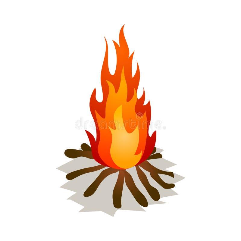 Небольшой горящий костер с деревянными ручками дерева вечером иллюстрация штока