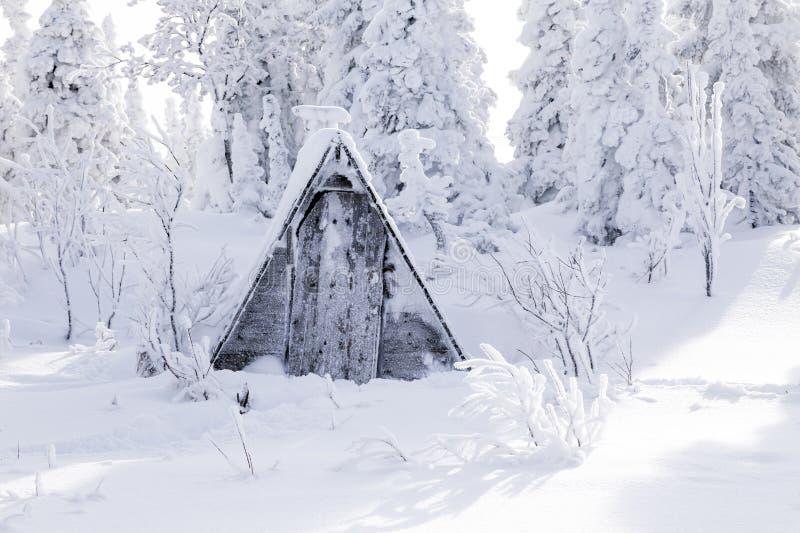 Небольшой деревянный старый серый туалет дома покрытый со снегом против bac стоковая фотография