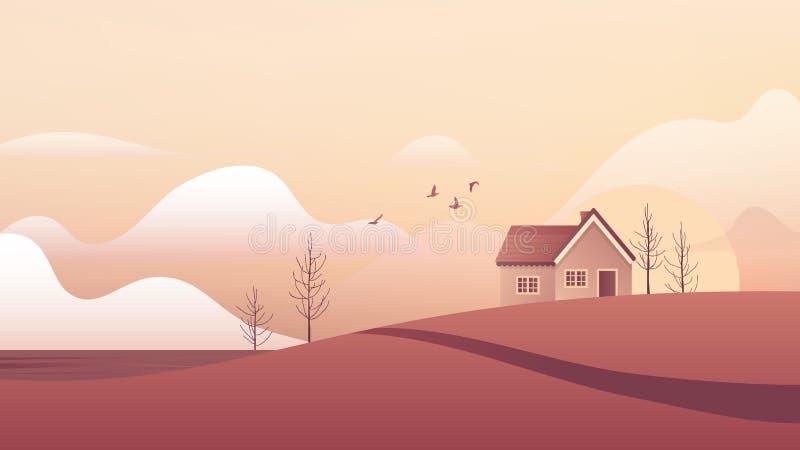Небольшой дом на ландшафте холма бесплатная иллюстрация
