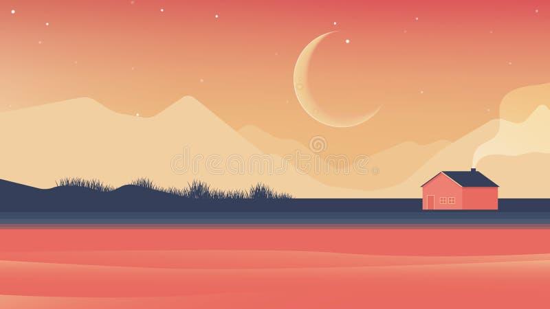 Небольшой дом около ландшафта реки и гор вечером иллюстрация штока