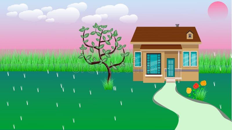 Небольшой дом со славными зелеными двором и цветком суда иллюстрация вектора
