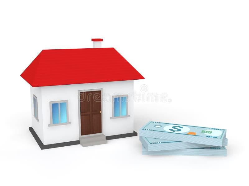 небольшой дом 3d и пачки денег иллюстрация вектора