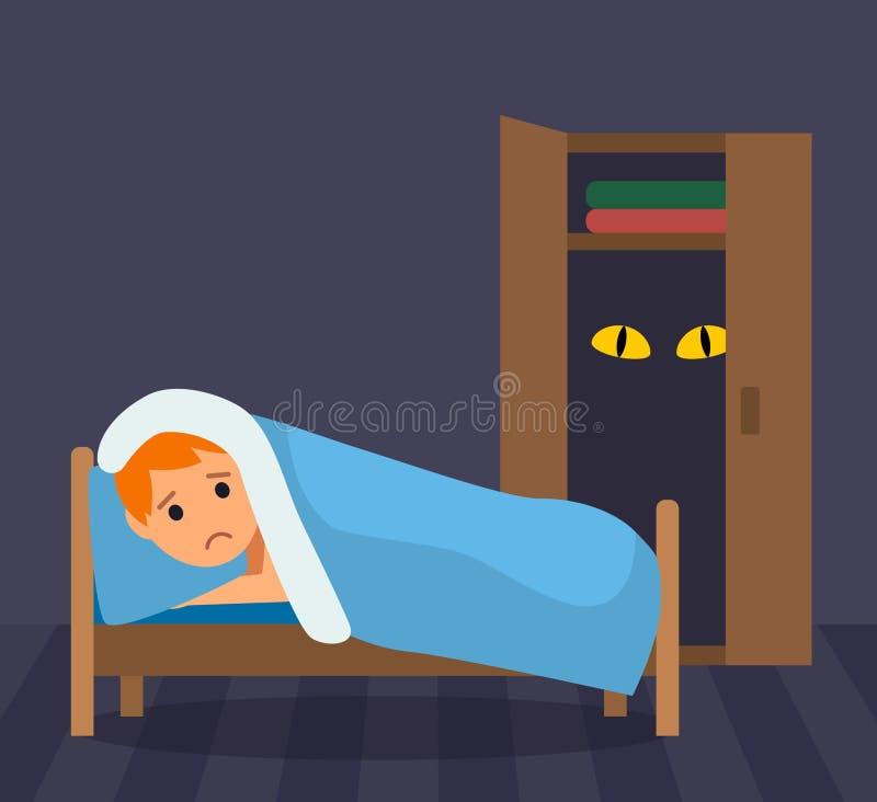 Небольшой мальчик не может спать - очень испуганный чудовища в шкафе Страхи детства плоская иллюстрация в стиле мультфильма иллюстрация вектора
