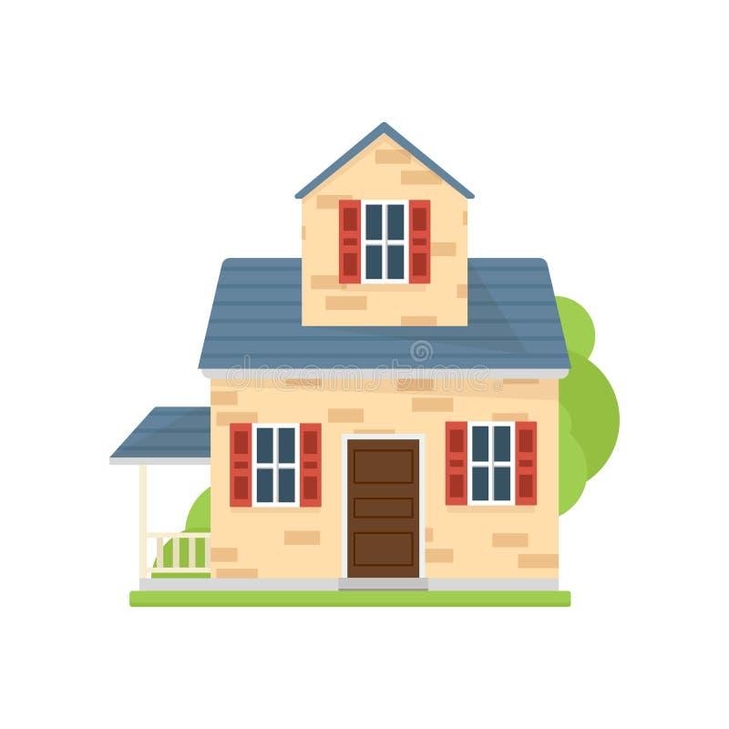 Небольшой милый американский дом с голубыми крышей и травой иллюстрация штока