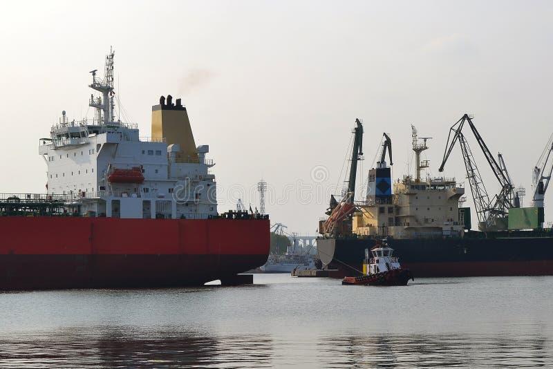 Небольшой пилотный корабль водит большой красный грузовой корабль на морском порте на windless день осени стоковое изображение rf