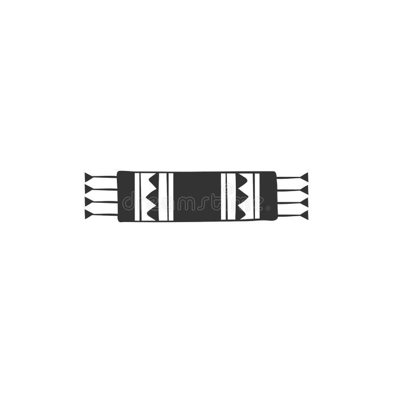 Элемент логотипа вектора Небольшой сплетенный половик Иллюстрация руки вычерченная изолированная иллюстрация вектора