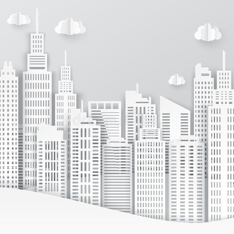 Небоскребы белой бумаги Здание Achitectural в панорамном взгляде иллюстрация вектора
