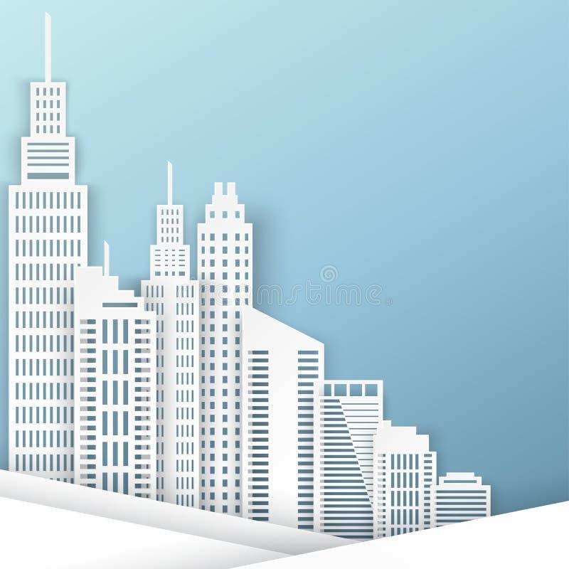 Небоскребы белой бумаги Здание Achitectural иллюстрация вектора