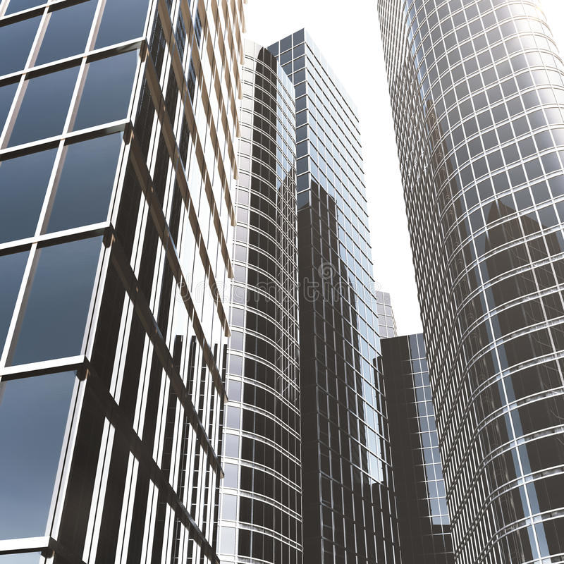 Небоскребы дела, многоэтажные здания, взгляд к небу, солнце архитектуры Экономическая концепция, финансовая 3d иллюстрация штока
