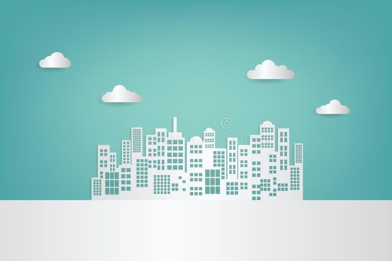 Небоскребы и облако белой бумаги Здание Achitectural в панорамном взгляде бесплатная иллюстрация