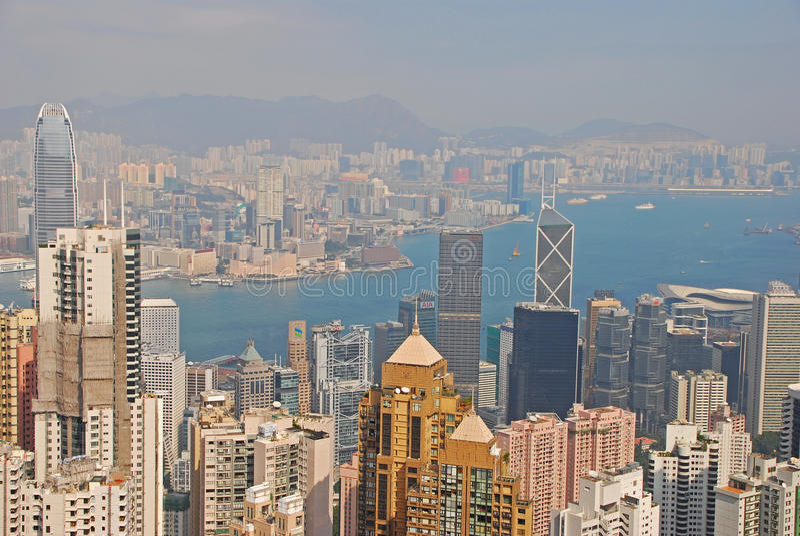 Небоскребы на острове Гонконга стоковое фото rf