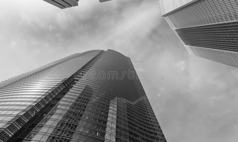 Небоскребы осматривают от улицы города Офисные здания на заходе солнца стоковые изображения rf