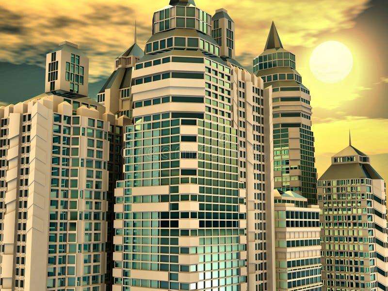 небоскребы предпосылки иллюстрация штока