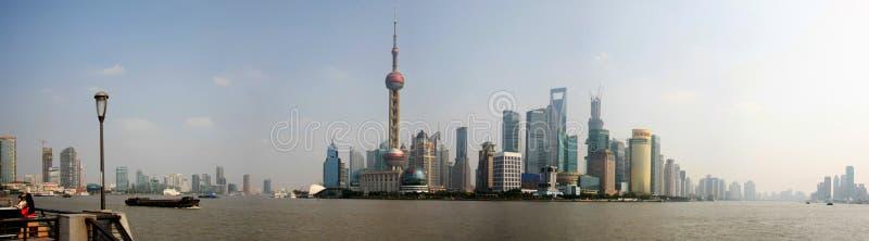 Небоскребы Шанхая панорамные стоковые фотографии rf