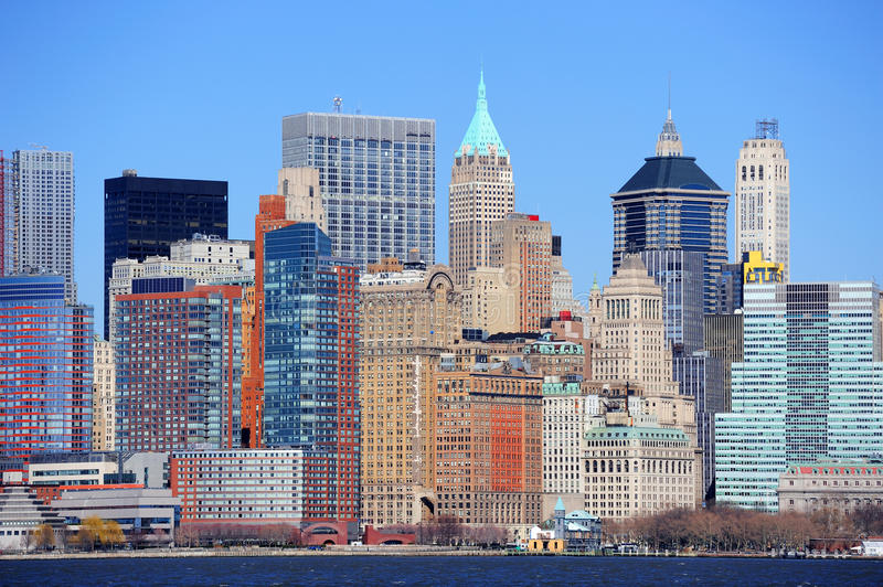 Небоскребы New York City Манхаттан стоковые фотографии rf