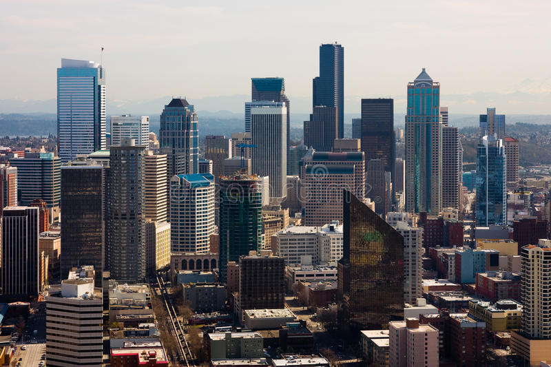 небоскребы seattle стоковое изображение rf