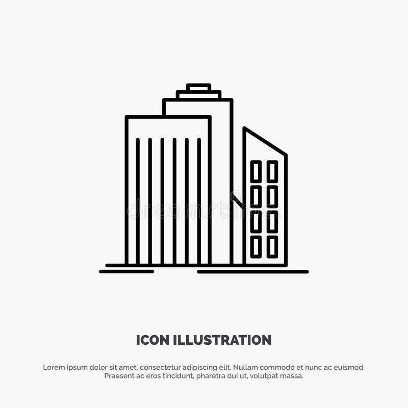Небоскреб, архитектура, здания, дело, офис, линия вектор недвижимости значка бесплатная иллюстрация