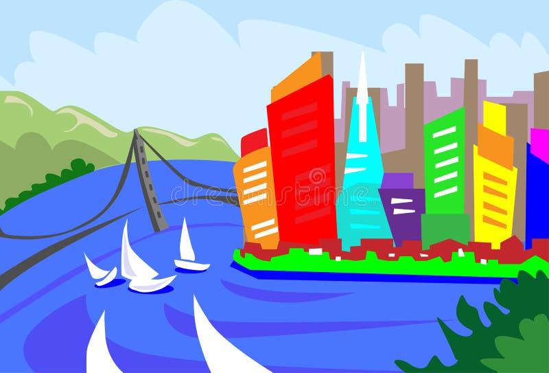 Небоскреб города горизонта конспекта Сан-Франциско иллюстрация вектора