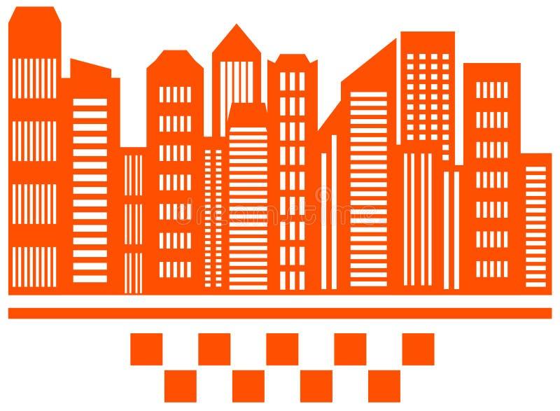 Небоскреб города с символом такси иллюстрация штока