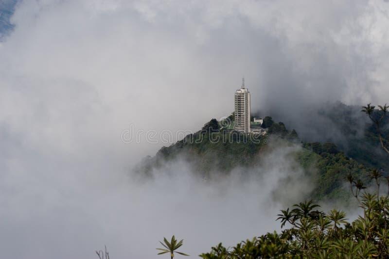 Небоскреб поднимает над туманом стоковая фотография rf