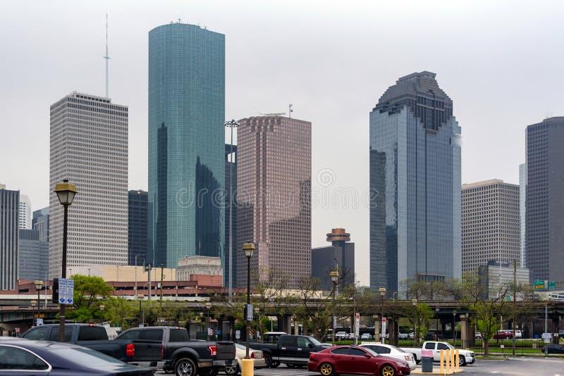 Небоскрёбы в Хьюстоне, Соединенные Штаты Америки стоковая фотография rf