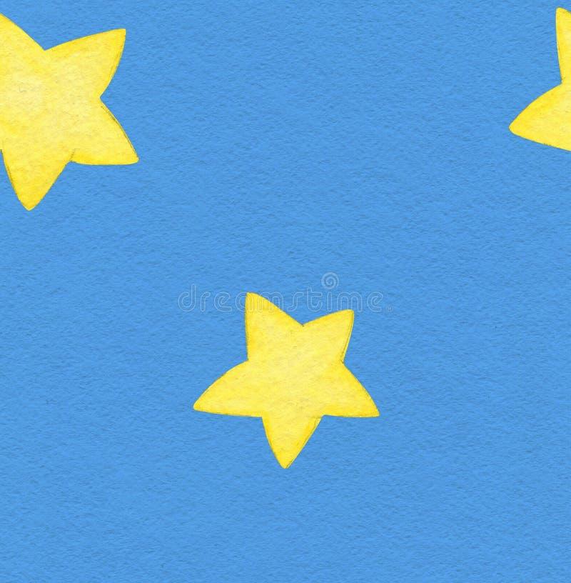 Небо акварели голубое и картина звезд безшовная Акварель играет главные роли иллюстрация на голубой предпосылке стоковые изображения