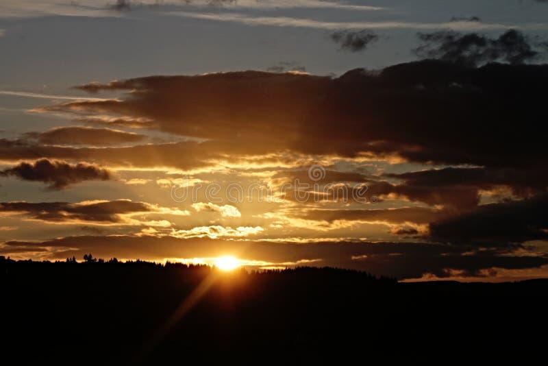 Небо, горизонт, послесвечение, заход солнца