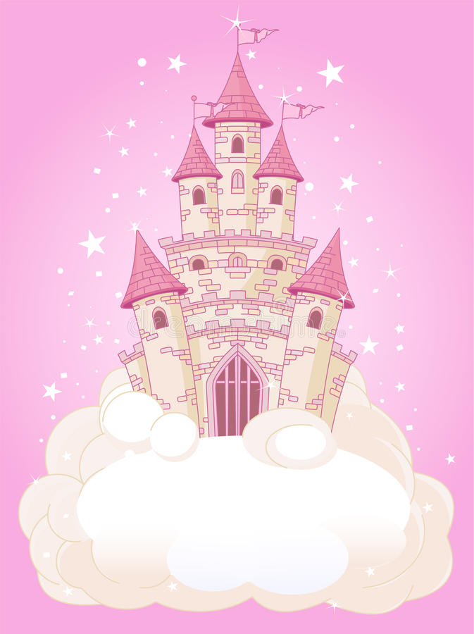 небо замока розовое иллюстрация штока