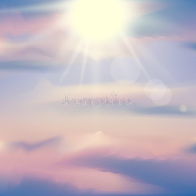Небо захода солнца вектора реалистическое Абстрактная предпосылка с розовыми, фиолетовыми и голубыми цветами заволакивает иллюстрация вектора