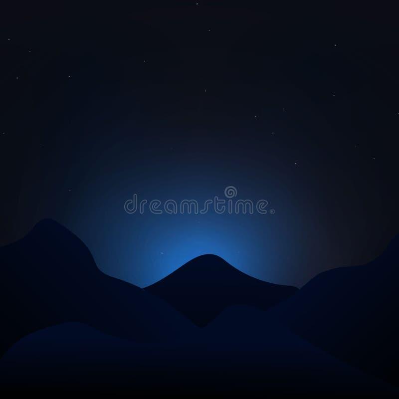Небо звездной ночи с вектором ландшафта гор иллюстрация штока